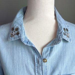 NWOT SO Embellished Chambray Shirt